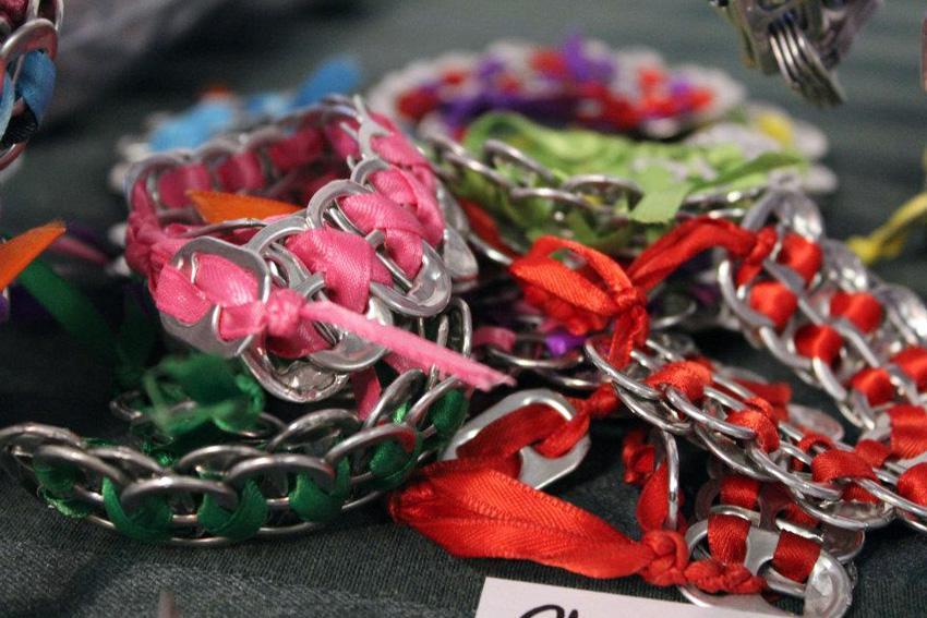 Yamamoto's upcycled soda tab bracelets.