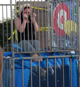 Mrs. Benedict braces for her first dunk at Horizon's annual Spring Fling.