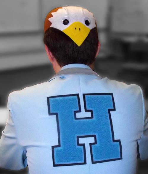 Alum Riley Fitzgerald was known for his school spirit and eagle-inspired garb, which he has passed on to his sisters.