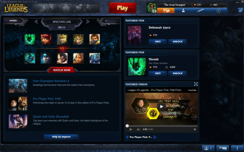 League+of+Legend%27s+dashboard+and+home+menu