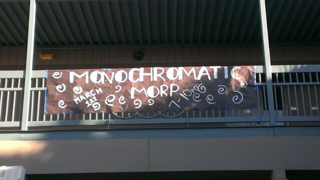 The Morp banner hanging in the courtyard.