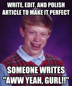 An example of the meme 'Bad Luck Brian