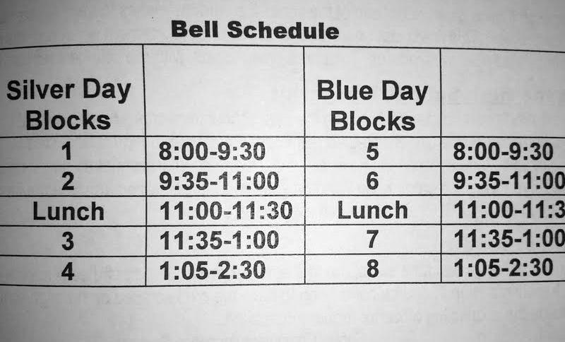 The 2013-14 class schedule for secondary students consists of eight blocks of 85-90 minutes each.