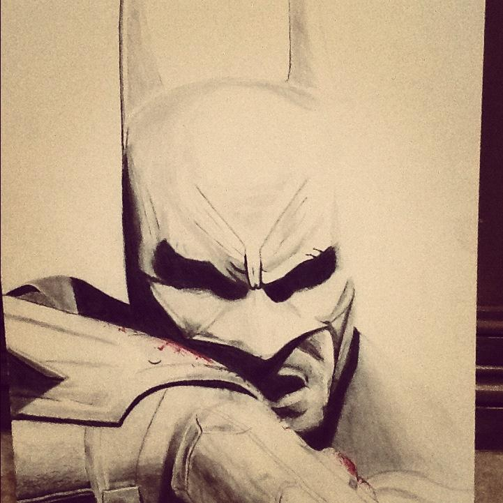 The Struggle of Batman Graphite drawing courtesy of Josh Taylor