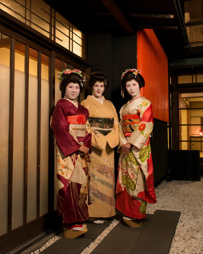 Courtesy of Sayuki Picture of Sayuki (middle) and two hangyoku (young geisha)