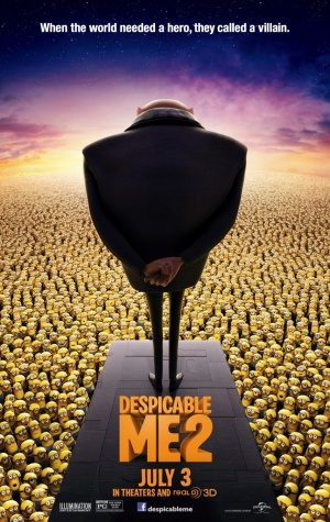 Gru stands before his minions in Despicable Me 2.  Despicable Me 2 was released by Pixar on July 3, 2013.