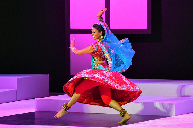 Nina Davuluri performs during the talent portion of the Miss America Pageant. She returned to her roots and performed a fusion of Bollywood and classical Bharatanatyam.