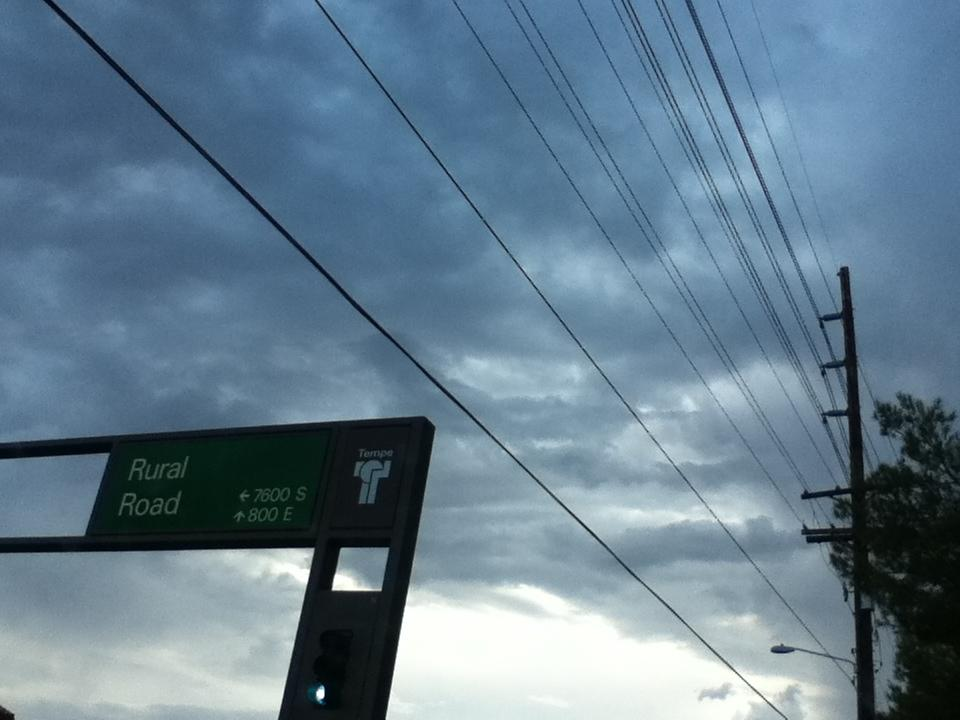 Dark clouds are rolling in to Tempe, Arizona. Many people loved the rain in the valley.