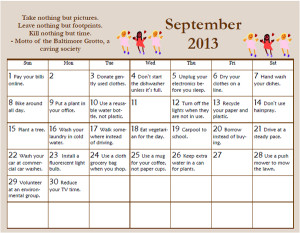 September Environmental Tips Calendar