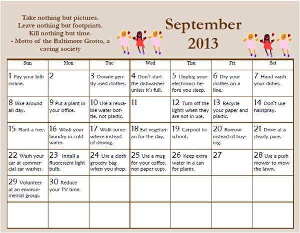 September Environmental Tips Calendar