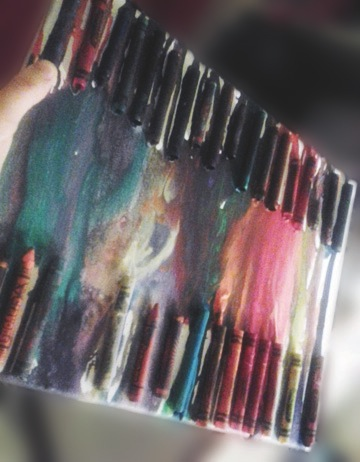 Crayon art is a way to create a unique art piece for your room. This crayons used for this project were first melted by the sun and then by a blow dryer.