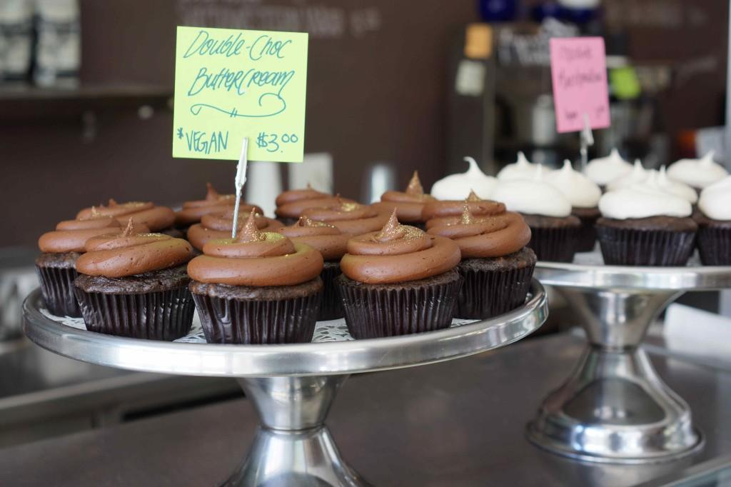 Cupcakes are from The Coffee Shop. The cafe was featured on Food Network's Cupcake Wars.