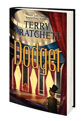 One of two covers of Terry Pratchett's magnificent book: Dodger.