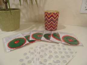 Kits to make miniature Christmas wreaths are waiting to be made. These wreaths will be hung up at the second decorating on Dec. 7.