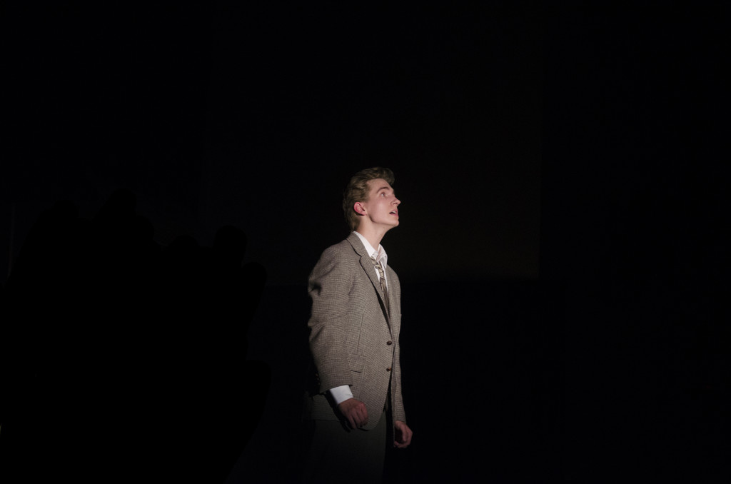 George, played by senior Dylan Freymuth, gazes up towards the heavens when he asks for his old life back.