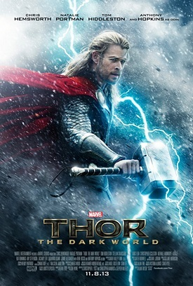 Thor 2 movie poster. The poster features Thor, God of Thunder.