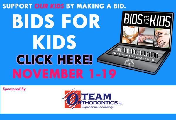Logo for Horizon Honors' Bids for Kids event. More than $20,000 has already been raised toward Chromebooks, classrooms, and technological mobile teaching centers.