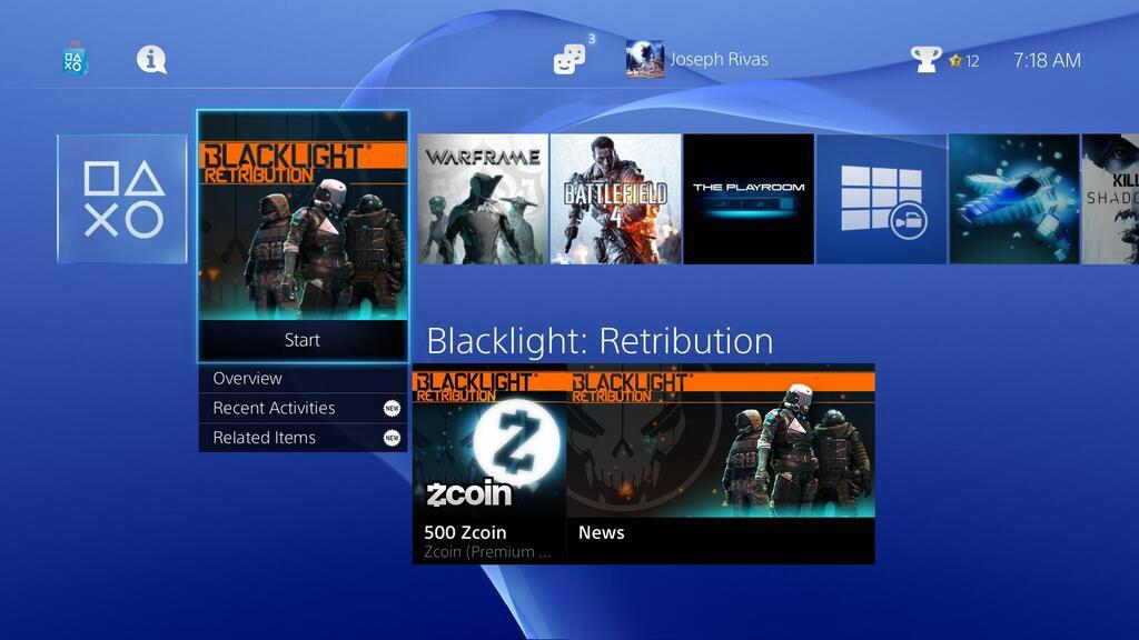 This is the PS4s main user interface, the games shown are Blacklight: Retribution, Warframe and Battlefield 4 this picture was taken using the PS4s share feature.