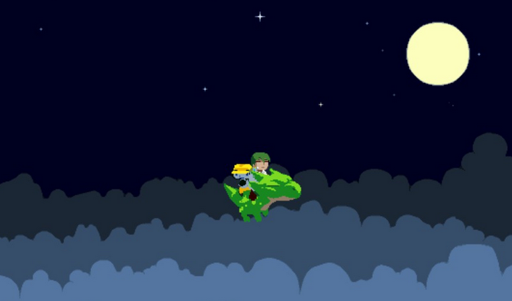 The protagonist and Kazuma from Cave Story seen on a flying dragon. Cave Story was a game indie game released by Pixel in 2004. Photo courtesy of Evan Rosser, Copyright © 2013 Evan Rosser.