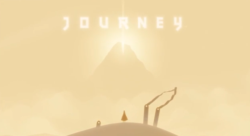 Journey%E2%80%99s+%28for+the+PS3%29+intro+sequence+where+the+red+robed+figure+stands+on+a+dune+before+a+mountain%2C+the+destination%2C+in+the+distance.+The+game+was+released+on+March+13%2C+2012.