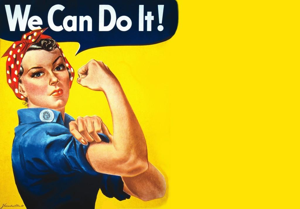 Rosie the Riveter flexing her muscle to show that women can be strong and independent too. She has become a symbol for powerful women everywhere. Photo courtesy of Lunamoths, Copyright © 2013.