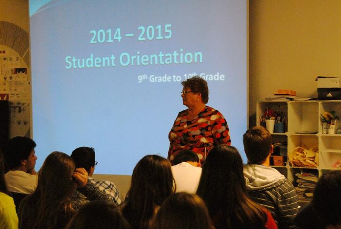 Mrs. Shaheen giving a presentation to the 9th grade class.