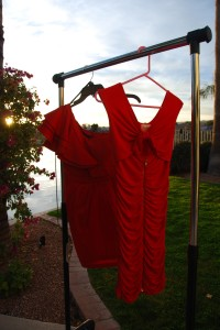 Play it cool in a red hot number. L to R: City Studio, Macy's, $70. Marilyn Monroe, Macy's, $60.