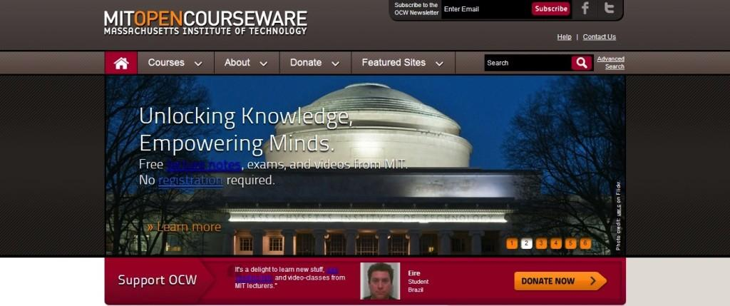 The homepage for MIT's free online courses. MIT, among other universities, is providing this option for more people to get a college education.