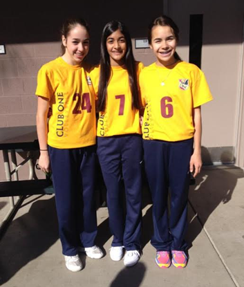 Alexa Marshall, Roshi Patel, and Maggie Kenzler show their twin spirit during Spirit Week. For twin day, three girls all dressed alike, decided to be triplets for the day, and showed their school spirit.