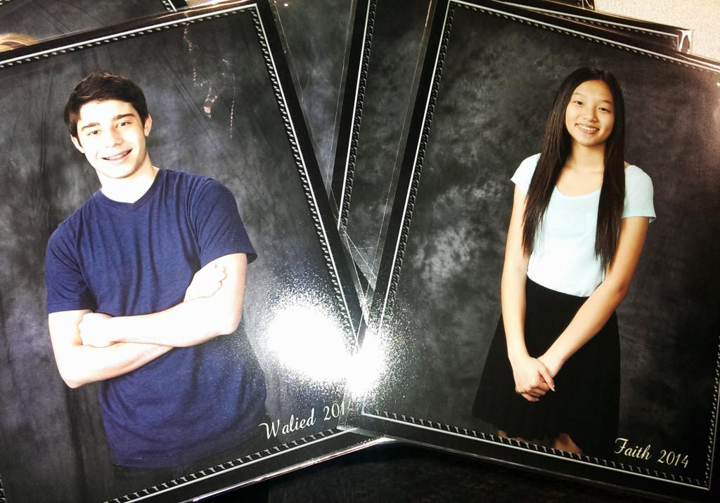 "Eighth graders Faith Gallo and Walied Harfouche.  Student pictures will be used in the ceremony to honor the work of the ""graduating"" class."