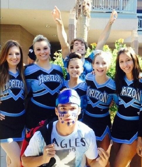 Some of the cheer team and HCLC students showing their school pride. This features seniors Shelby Pearcy, Heather Dixon, and Connor Pendleton; junior Billy Hardiman; and sophomores Destiny Lovely, Bree Lientz, and Daisy Valentin.