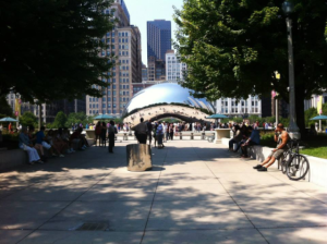 Cloud Gate, created by Anish Kapoor, is located in Millenium Park in downtown Chicago and is an iconic example of contemporary art in this day and age.