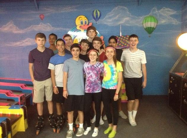 These students belong to Ms.Beets and Mr. Shand's PE class on Blue days. Some students gathered around to take a picture at Skateland on Tuesday, May 6.