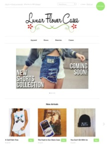 Lunar Flower Cases homepage. The host website used for this page is Shopify.
