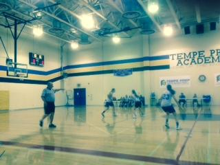 Horizon Honors playing Tempe Prep at their home court. Horizon Honors won the game, 14-12.
