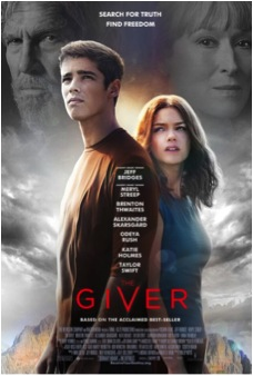 Jonas (Brenton Thwaites) and Fiona (Odeya Rush) are pictured in front of the Community, with faces of the Giver (Jeff Bridges) and the Chief Elder (Meryl Streep) behind them. The Giver opened 15 Aug.