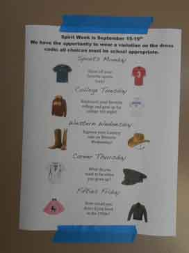 This week marks the first Spirit Week of the year so dont forget! Days include 50s Friday, Western Wednesday and Sports-Day Monday.