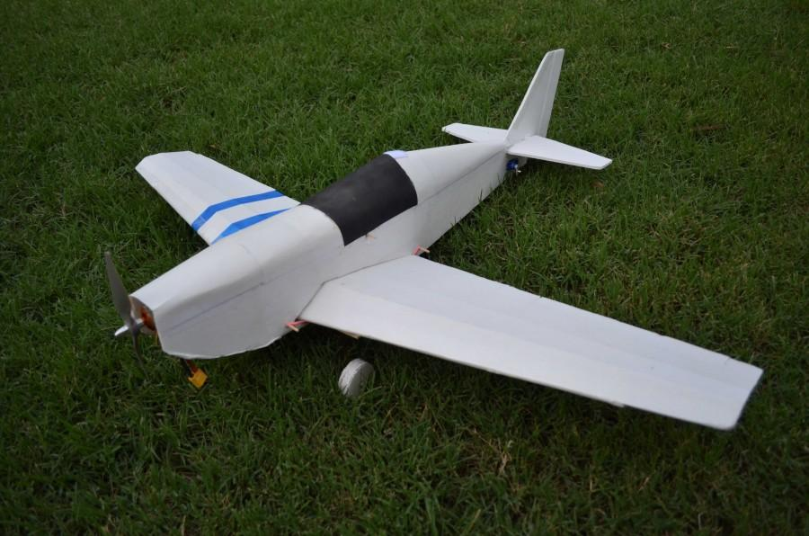 A scratch built RC airplane used for park flying.