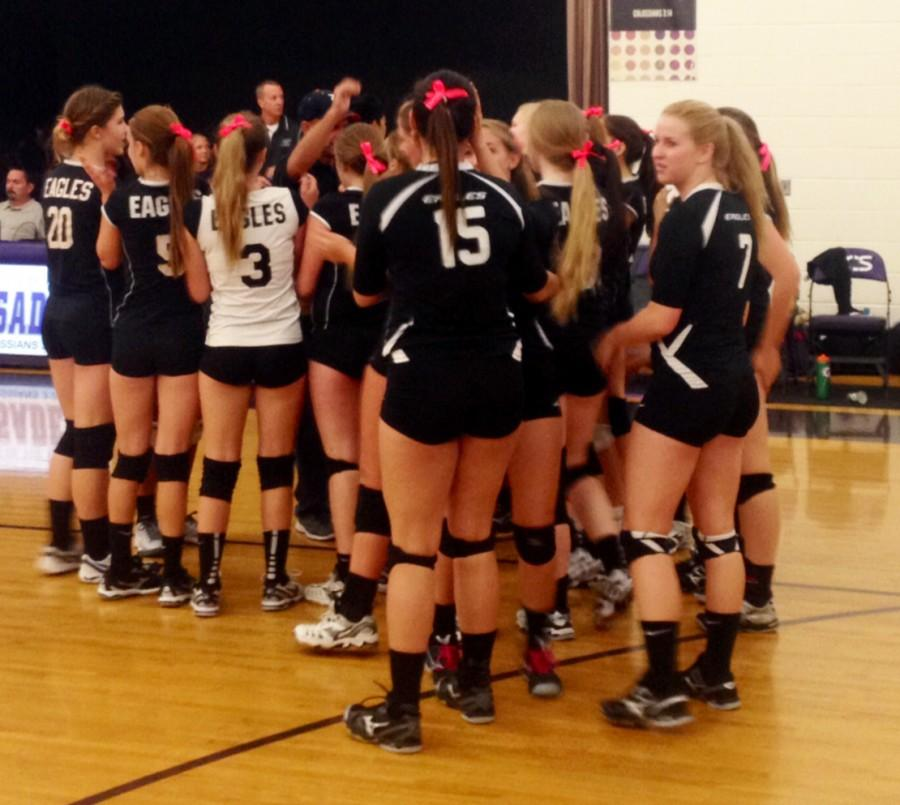 Horizon Honors Lady Eagles JV Volleyball celebrates a win after Wednesdays game.