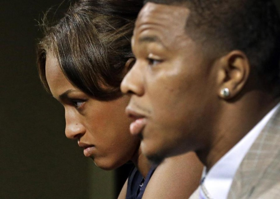 Ray Rice speaks at a press conference on May 23. This was after his first punishment, before the video of the incident inside the elevator was released.