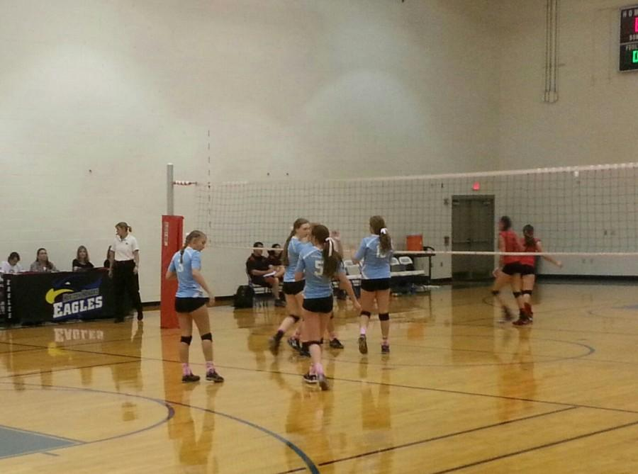 The Horizon Honors JV team gets into position for another serve.