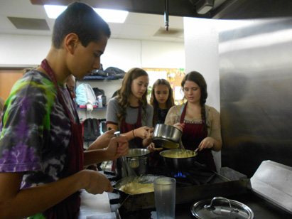 Students in Heinrich's Block 1 make Broccoli and Cheese Soup. Students state they love being in Culinary Arts and are excited for future recipes like appetizers.