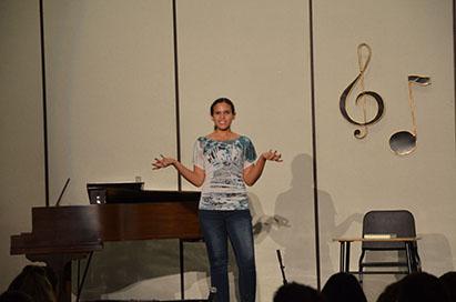 Senior Meredith Pendleton performs an ironic monologue.