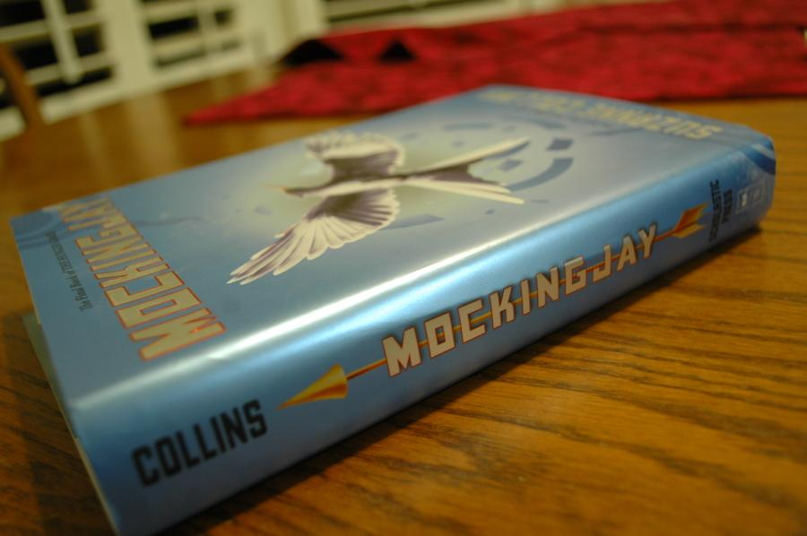 A Hardcover copy of Mockingjay. The book was regarded by some as far superior to the film adaptation.