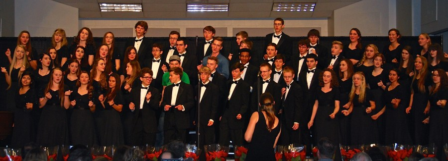 The members of the honors ensemble sing their signature holiday classic,