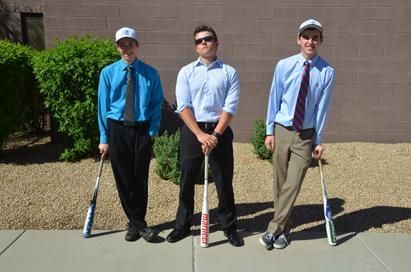 Seniors, Zack Boledsoe Downes, Bryce Pharr, and Garrett Leake, relax for a picture.