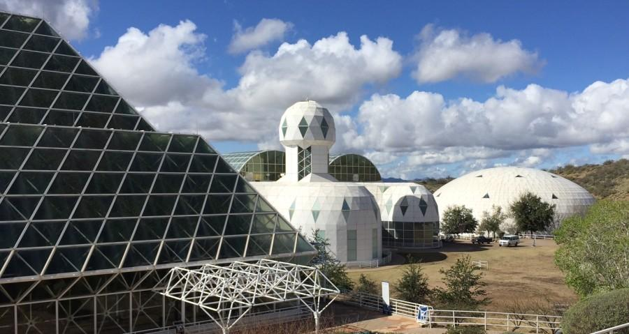 The Biosphere 2 had multiple buildings. Here, you see the biomes and human habitat.