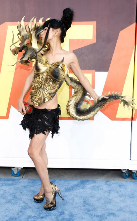 Bai Ling:  Bai Ling had the crowd speechless with a dragon dress. She wore a gold dragon on her back with a glittery black mini skirt. The only question is how did she sit down?