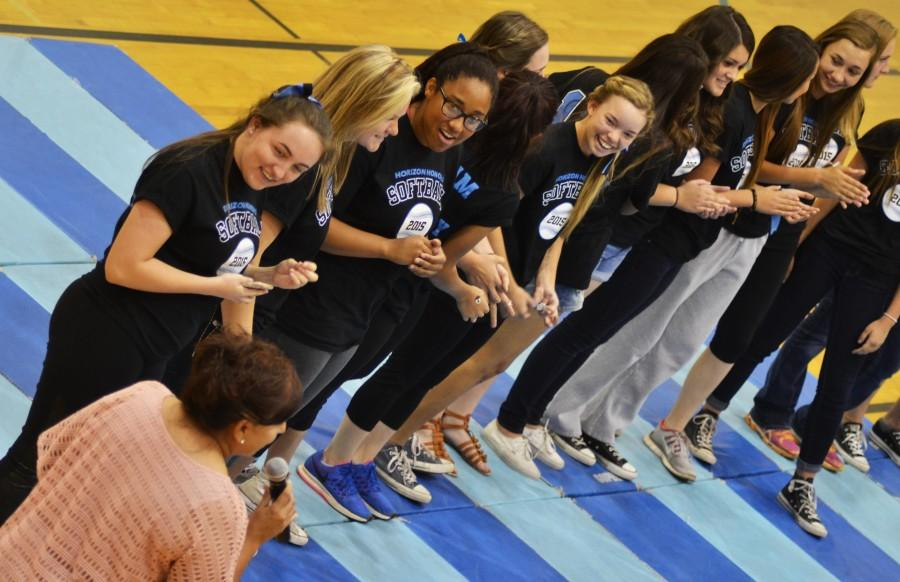 The Softball team getting announced at the Pep Rally.