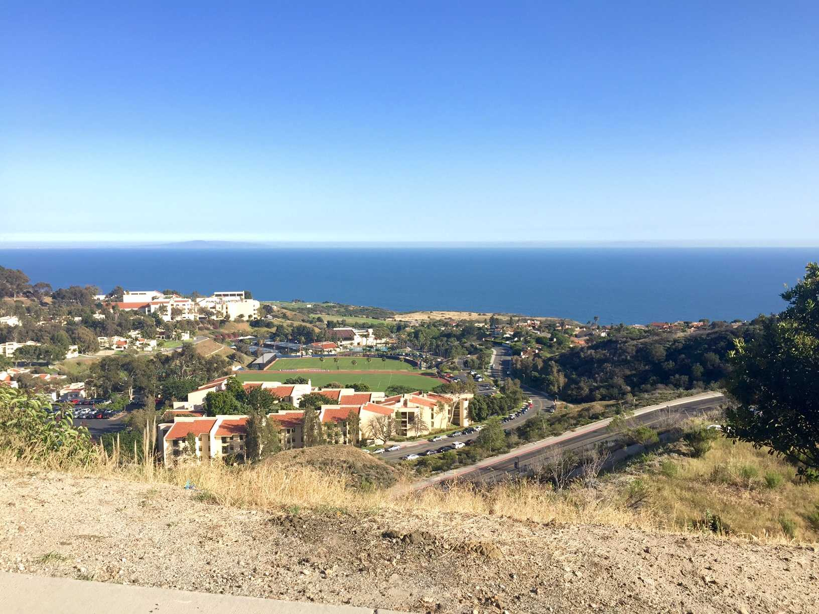 From the top of the hills where the upperclassmen housing is located, you get a beautiful view overlooking parts of campus and the Pacific Ocean.
